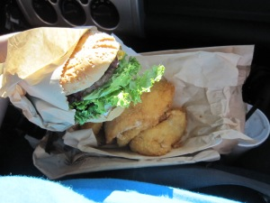 Food on the run, Burgerville Burger and Walla Walla Onion rings, only available seasonally.