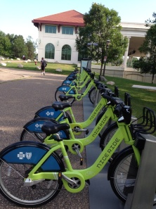 MN Nice Ride Green Bikes at Lake Como